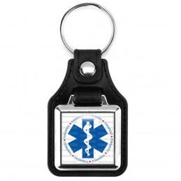 Porte-Clés Carré Cuir Vegan Croix de Vie Paramedic Caducée Santé