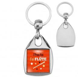 Porte-Clés Carré Acier J'Peux Pas J'ai Flûte - Instrument Musique