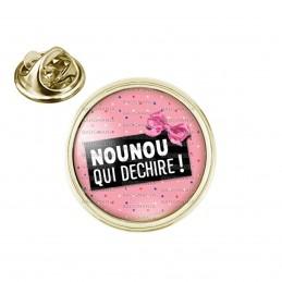 Pin's rond 2cm doré Nounou qui déchire - Fond Rose Nœud Papillon Rose