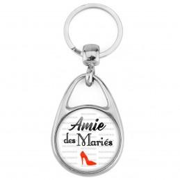 Porte Clés Métal 2 Faces Logo 3cm Amie des Mariés - Escarpin Rouge Mariage Cérémonie