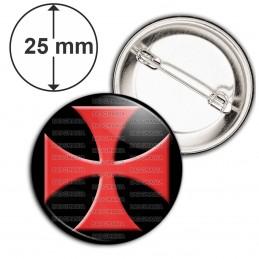 Badge 25mm Epingle Ordre du Temple Templier Croix Templière Rouge Fond Noir