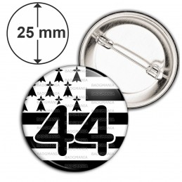 Badge 25mm Epingle Drapeau Breton 44 Loire-Atlantique Bretagne Brezhoneg Celte Celtique Noir Blanc