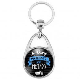 Porte Clés Métal 2 Faces Logo 3cm Le Papy parfait est MOTARD - Moto