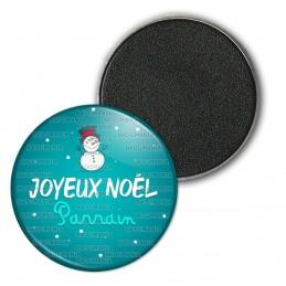 Magnet Aimant Frigo 3.8cm Joyeux Noël PARRAIN - Bonhomme de neige Flocons Fond Bleu