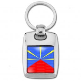 Porte Clés Rectangle Acier 2 Faces Drapeau Réunionais Ile de la Réunion Flag Emblème France