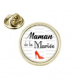 Pin's rond 2cm doré Maman de la Mariée - Escarpin Rouge Mariage Cérémonie