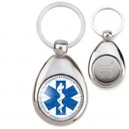 Porte-Clés Acier Goutte Jeton Caddie Croix de Vie Paramedic Caducée Santé