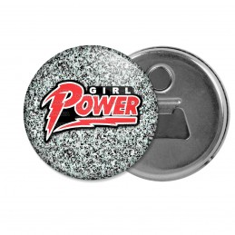 Décapsuleur 6cm Aimant Magnet Girl Power - Feminist Girl Power Fond Gris