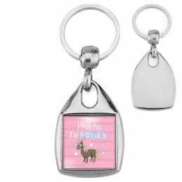 Porte-Clés Carré Acier J'Peux Pas J'ai Poney - Equitation fond rose