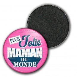 Magnet Aimant Frigo 3.8cm Plus Jolie Maman du Monde - Fond Rose