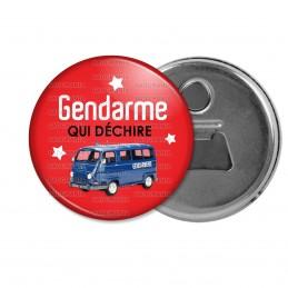 Décapsuleur 6cm Aimant Magnet Gendarme qui déchire - Estafette Fond Rouge