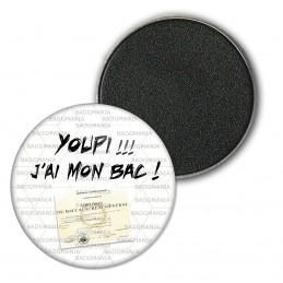 Magnet Aimant Frigo 3.8cm YOUPI !! J'ai mon BAC ! Diplôme Baccalauréat Fond Blanc