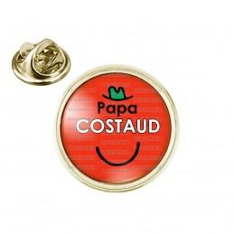 Pin's rond 2cm doré Papa Costaud - Fond rouge