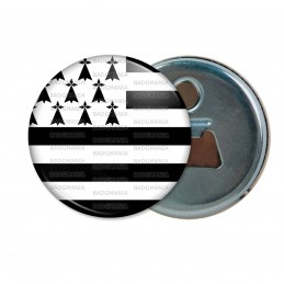 Décapsuleur 6cm Aimant Magnet Drapeau Breton Bretagne Hermine Brezhoneg Celte Celtique Noir Blanc