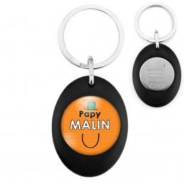 Porte-Clés Noir Ovale Jeton Caddie Papy Malin - Fond orange