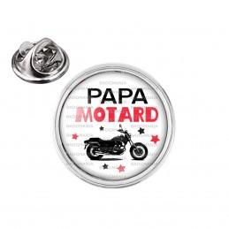 Pin's rond 2cm argenté Papa Motard - Moto Noire Fond BLanc