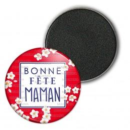 Magnet Aimant Frigo 3.8cm Bonne Fête MAMAN - Fleurs blanches Fond Rouge