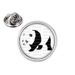 Pin's rond 2cm argenté Panda Géant Ursidés Animal Chine Noir et Blanc