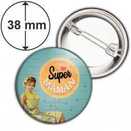 Badge 38mm Epingle Super Maman - Fond vert orange Rétro vintage Pin-up
