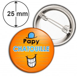 Badge 25mm Epingle Papy Chatouille - Fond orange
