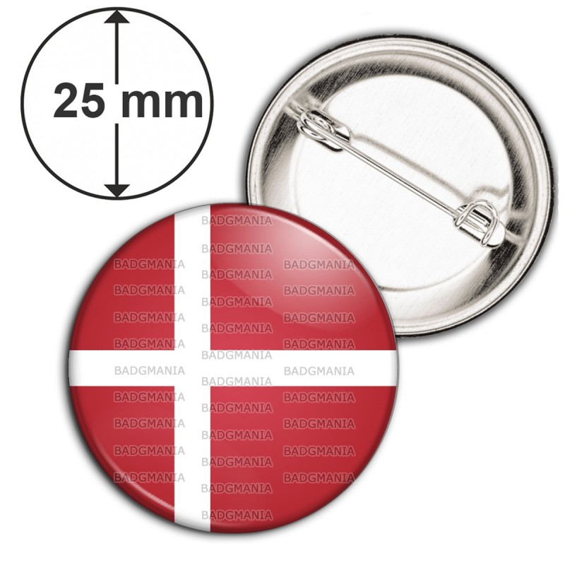 Badge 25mm Epingle Drapeau Danemark Flag Rouge Blanc Viking