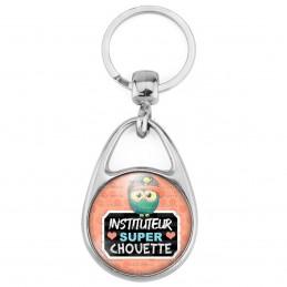 Porte Clés Métal 2 Faces Logo 3cm Instituteur Super Chouette - Casquette Fond Rose
