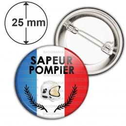 Badge 25mm Epingle SAPEUR POMPIER Bleu Blanc Rouge Palmes