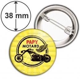 Badge 38mm Epingle Papy Motard - Moto Ailée fond jaune