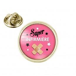 Pin's rond 2cm doré Super Infirmière - Pansements Fond rose