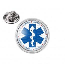 Pin's rond 2cm argenté Croix de Vie Paramedic Caducée Santé