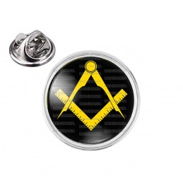 Pin's rond 2cm argenté Compas Equerre Francs-Maçons Symbole Maçonnique Jaune Fond Noir
