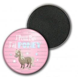 Magnet Aimant Frigo 3.8cm J'Peux Pas J'ai Poney - Equitation fond rose