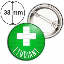 Badge 38mm Epingle Etudiant en Pharmacie Croix Fond Vert