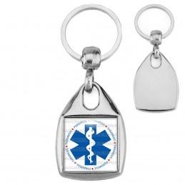 Porte-Clés Carré Acier Croix de Vie Paramedic Caducée Santé