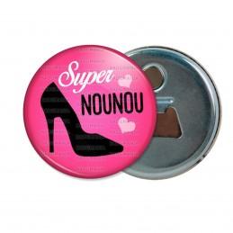Décapsuleur 6cm Aimant Magnet Super Nounou - Chaussure Talon Noire Fond Fuschia