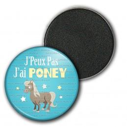 Magnet Aimant Frigo 3.8cm J'Peux Pas J'ai Poney - Equitation fond bleu
