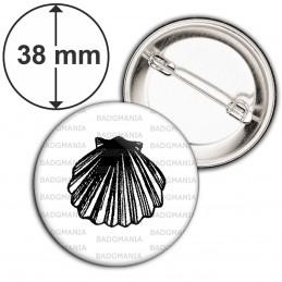 Badge 38mm Epingle Coquille Saint Jacques - Animal Symbole Marin