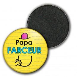 Magnet Aimant Frigo 3.8cm Papa Farceur - Fond jaune