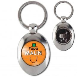 Porte-Clés Acier Ovale Jeton Caddie Papa Malin - Fond orange