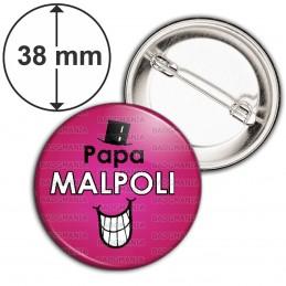 Badge 38mm Epingle Papa Malpoli - Fond violet