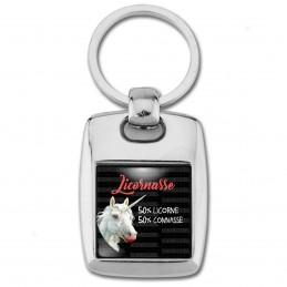 Porte Clés Rectangle Acier 2 Faces Licornasse 50% Licorne 50% Connasse n6