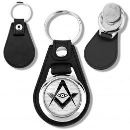 Porte-Clés Cuir Vegan Rond Jeton Caddie Compas Equerre Francs-Maçons Symbole Maçonnique Noir fond blanc