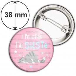 Badge 38mm Epingle J'Peux Pas J'ai Sieste - Chat fond rose