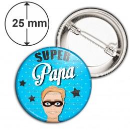 Badge 25mm Epingle Super Papa - Homme Cheveux Roux Masqué