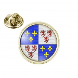 Pin's rond 2cm doré Blason Picardie Drapeau Symbole France