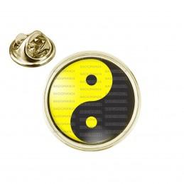 Pin's rond 2cm doré Yin Yang Jaune Gris Foncé Harmonie Equilibre Feng Shui Paix Peace