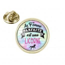 Pin's rond 2cm doré La Femme Parfaite est une LICORNE - Licorne noire
