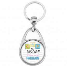 Porte Clés Métal 2 Faces Logo 3cm Cap ou pas Cap d'être mon Parrain - Fond blanc - Annonce Naissance