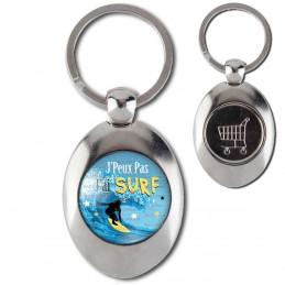 Porte-Clés Acier Ovale Jeton Caddie J'Peux Pas J'ai Surf - Planche Surfeur Vague