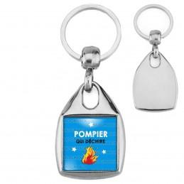 Porte-Clés Carré Acier POMPIER qui déchire - Flamme - Fond bleu